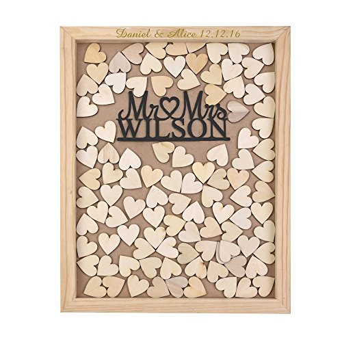 Engraved Book Guest (Personalized Engraved Rustic Drop Top Wooden Wedding Guest Book Frame & Customized Mr & Mrs 35x30 CM with 120 Pcs Wooden Hearts)