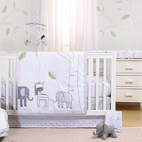 - Elephant Park 6 Piece Jungle Theme Baby Crib Bedding Set by Little Haven