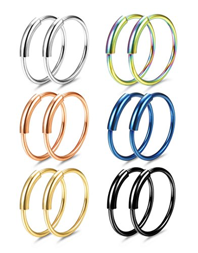 FUNRUN JEWELRY 6Pairs Stainless Steel Hoop Nose Rings Set for Women Men Eyebrow Tragus Lip Ear Ring BCR Body Piercing 22G 8MM