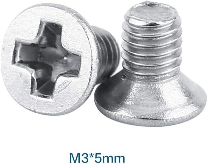 100 Teile//beutel M3 Maschinenschrauben M3*6 9 Arten M3 Flachkopf Edelstahl SS304 Maschine Senkschraube Schraubenverschluss