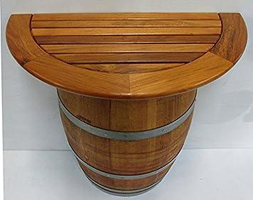 Amazon Com Basic Wine Barrel Stand With Teak Wood Table Top