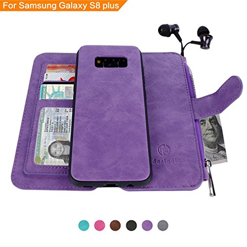 Price comparison product image Samsung Galaxy S8 Plus Case, [Detachable Wallet Folio][2 in 1][Zipper Cash Storage][Up to 14 Card Slots 1 Photo Window] Premium PU Leather Purse Clutch with Removable Inner Magnetic TPU Case - Purple