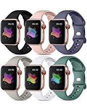 Maledan 6 Pack Bands Compatible with Apple Watch Band 40mm 38mm 44mm 42mm 41mm 45mm Women Men, Soft Silicone Waterproof Sport Strap Replacement Wristbands for iWatch Series 7 6 5 4 3 2 1 SE