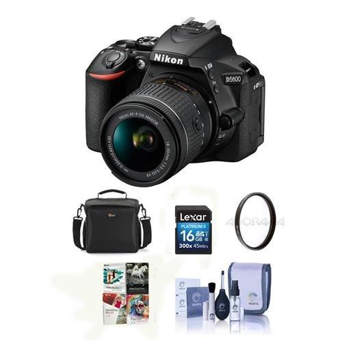 Nikon D5600 DSLR Camera Kit with AF-S DX NIKKOR 18-140mm f/3.5-5.6G ED VR Lens, Black - Bundle With Camera Case, 16GB SDHC Card, 67mm UV Filter, Cleaning Kit, Software Package
