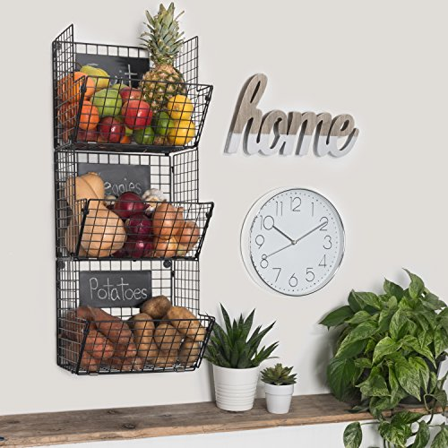 Premium 3-Tier Wall Mounted Hanging Wire Baskets with Chalkboards - High-Grade Black Iron - Fruit or Produce Storage - Bathroom Towel Rack - Rustic Country-Style Organizer by Saratoga Home (Image #2)