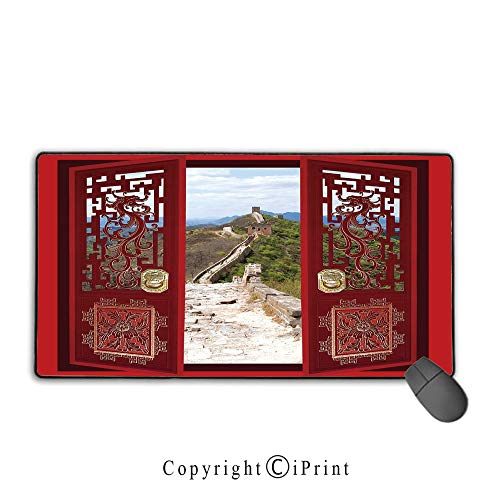 Large Mouse pad,Ancient China Decorations,Gates with Ornament Great Wall of China Famous Historic Structure,Multicolor,Suitable for laptops, Computers, PCs, Keyboards, Mouse pad with Lock,9.8