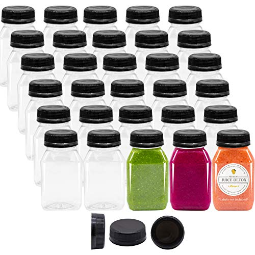 4 oz Empty Plastic Juice Bottles with Black Lids 98 Bulk Pack Small Clear Milk Drink Syrup Kids Size Containers Tamper Proof Caps Wholesale ()