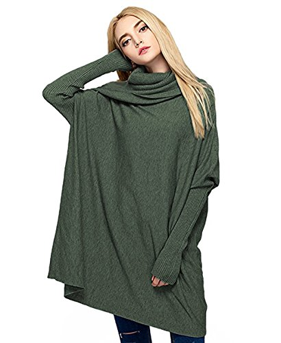 eneck Oversized Loose Pullover Sweater Batwing Long Sleeve Cable Knit Tunic Tops Jumper (Green, Free Size) ()