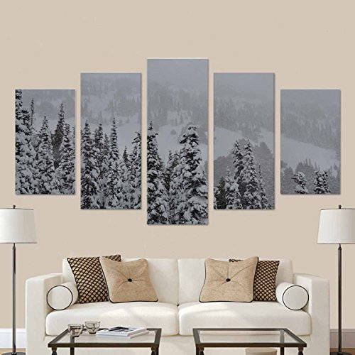 InterestPrint Pine Trees in Heavy Snow in Olympic National Park Canvas Prints Artwork Pictures (No Frame) 5 Pieces Printed for Home Office (Olympic National Park Pictures)