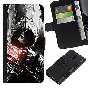 KLONGSHOP // Tirón de la caja Cartera de cuero con ranuras para tarjetas - Asesinos Puño - Samsung Galaxy S4 IV I9500 //