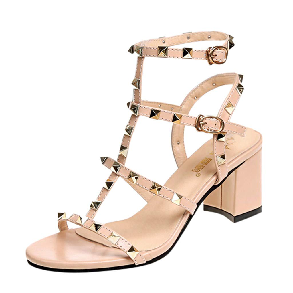 COOlCCI_2019 NEW ARRIVAL Women's Chunky Heeled Sandals,Buckle Strap Rivet High Heel Party Shoes Beige