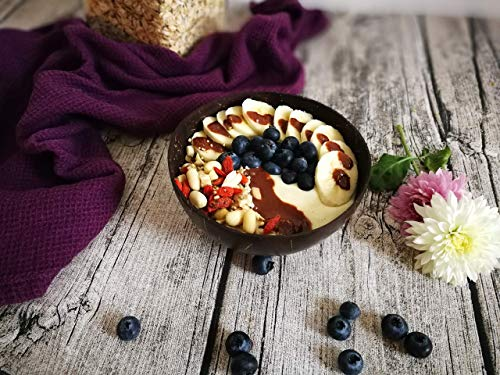 Coconut Bowl, spoon and fork 100% natural. Includes 4 Coconut Bowls, 4 Spoons and 4 Forks | Handmade with love | Ideal for making organic Breakfast, Smoothie, Salad or Buddha Bowl. Perfect Gift by Willy et Sam (Image #3)