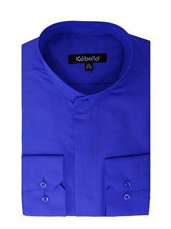Bleu Chemise Homme Mao Col Kebello 4AL5j3R