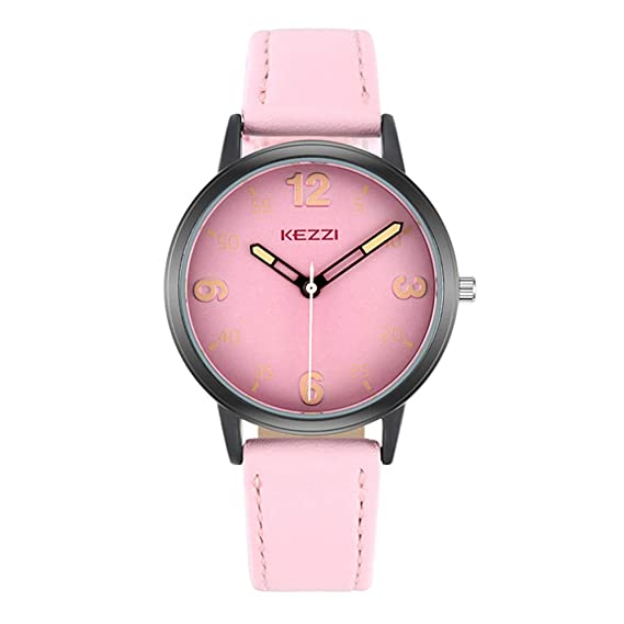Relojes Mujer con Dial Coloreado, Grande Escala de Números Arábigos Correa de Cuero Relojes de Pulsera de Moda para Chica, Rosa: Amazon.es: Relojes