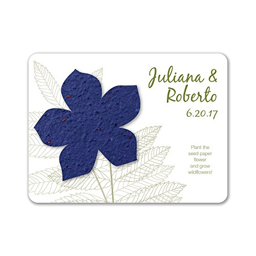 Bloomin Plantable Wildflower Wedding Favor with Seed Paper - Royal (25 Card Set) ()