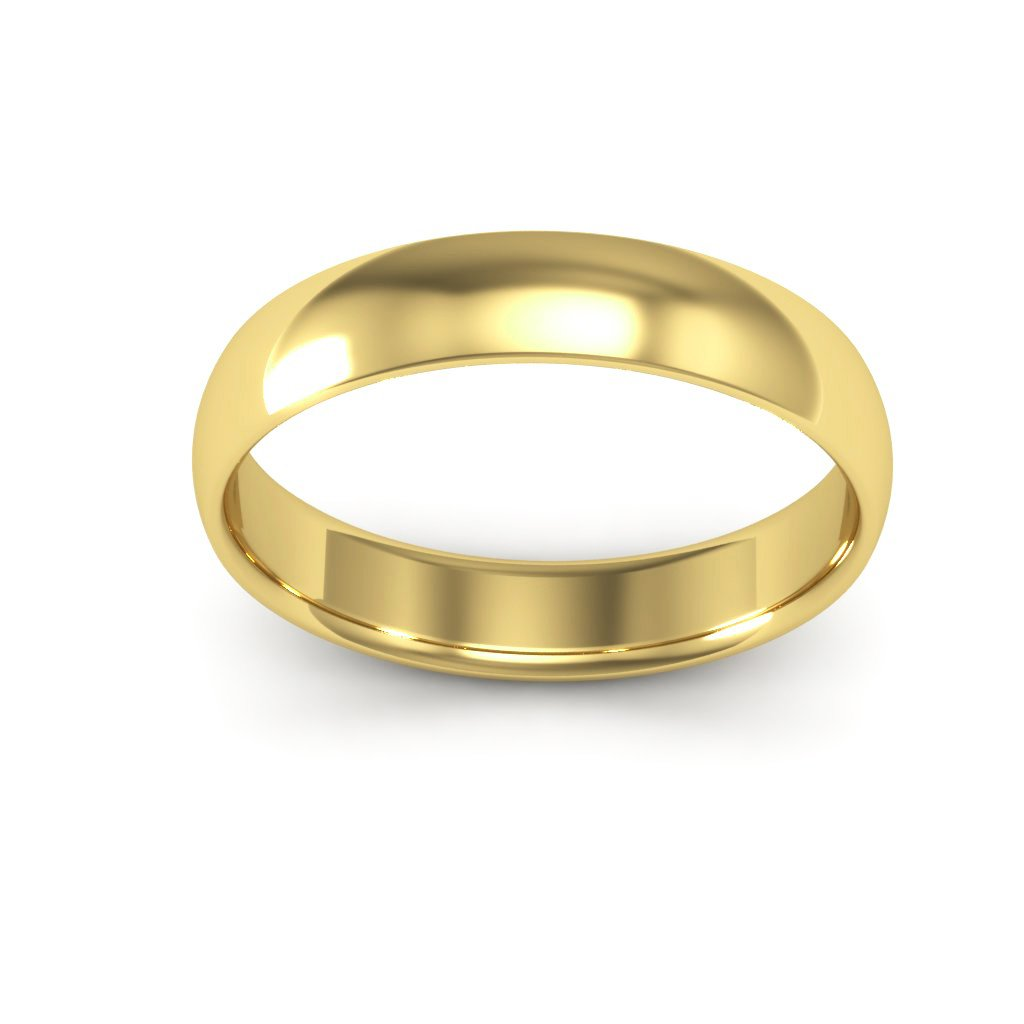 14K Yellow Gold men's and women's plain wedding bands 4mm comfort-fit light, 5.25 by i Wedding Band (Image #4)