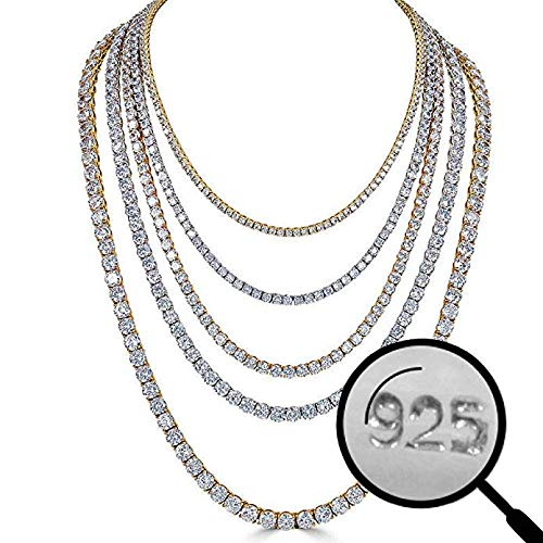 3mm 4mm 5mm 6mm 16-30 14k Gold Plated Or Natural Silver Harlembling Real Solid 925 Silver Mens Tennis Chain Iced Out Hip Hop CZ Mens One Row Chain