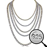 Harlembling Real Solid 925 Silver Men's Tennis Chain - 14k Gold Plated Or Natural Silver - 16-30'' - 3mm 4mm 5mm 6mm - Iced Out Hip Hop CZ Men's One Row Chain (18, 5mm Natural Silver)