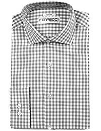 Mens Slim Fit Cotton Gingham Check Dress Shirts