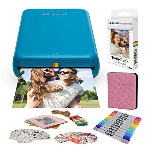 Polaroid Zip Wireless Mobile Photo Mini Printer (Blue) Compatible w/iOS & Android, NFC & Bluetooth Devices with Bundle Accessories