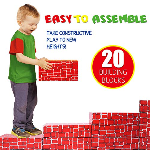 (EXERCISE N PLAY Cardboard Building Block, 20pcs Extra-Thick Jumbo Giant Building Blocks for)