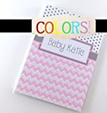 Baby Photo Album IA#052 Girl Boy Newborn Keepsake Pink Chevron 4x6 or 5x7 Pictures Personalized Shower Gift