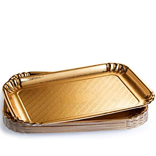 12 Pack Gold Cake Trays, Cookie tray Sturdy Paper Cardboard. Disposable Serving Trays Food Safe, Non Toxic. Great for Birthday, Party, Wedding, 9 x 13 -