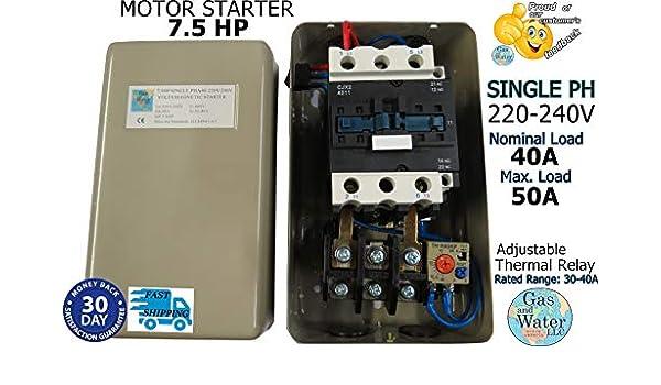 Magnético Motor eléctrico Starter 7,5 HP Single Phase Control 220/240 V 32 - 48 A: Amazon.es: Bricolaje y herramientas