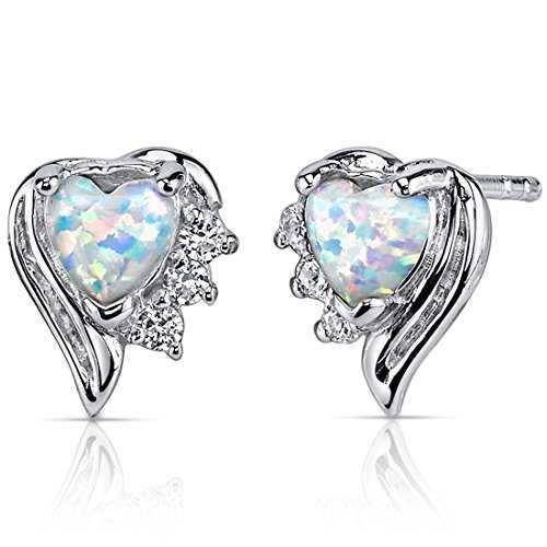 Created Opal Earrings Sterling Silver Heart Shape 1.00 Carats