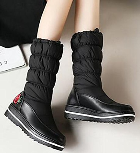 Calf Boots IDIFU Down Booties Wedge Heels Black With Mid Snow Warm Womens Flowers Mid Platform 0HwSFq0