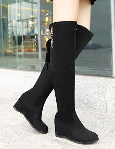 Heels Knee Medium Aisun Bows Toe Shoes High Womens With Fashion Round Wedge Tall Black Dress Boots w44Y8Bq