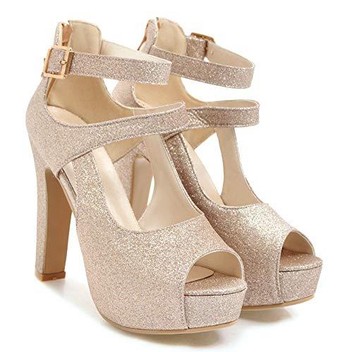 Belle Or Chaussures Paillettes Mariage Femme Ouverte Bouche De Sandales Aisun Xzfq5xwgx