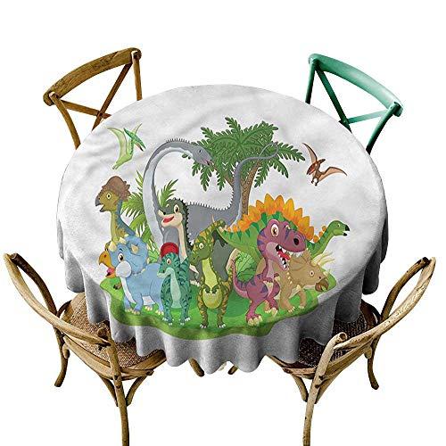 Luunins Round Tablecloth Plastic Dinosaur Party,Jurassic Savannah D54,for Bistro Table (Bistro Savannah)