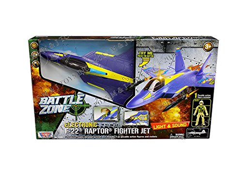 Motor Max Battle Zone Electronic F-22 Raptor Fighter Jet with One Poseable Figure Diecast Aircraft,,