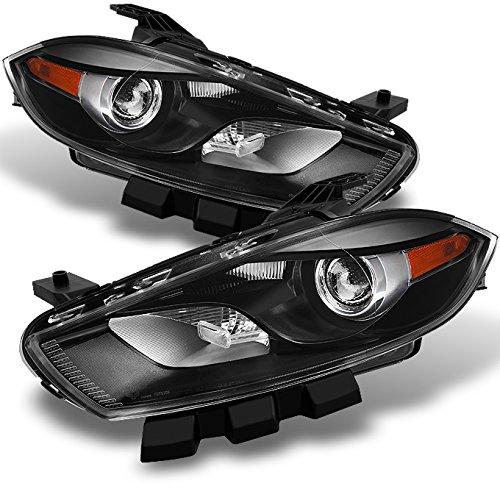 Dodge Dart Halogen Type Black Headlights Head Lamps Driver Left + Passenger Right Side Replacement Dart Heads