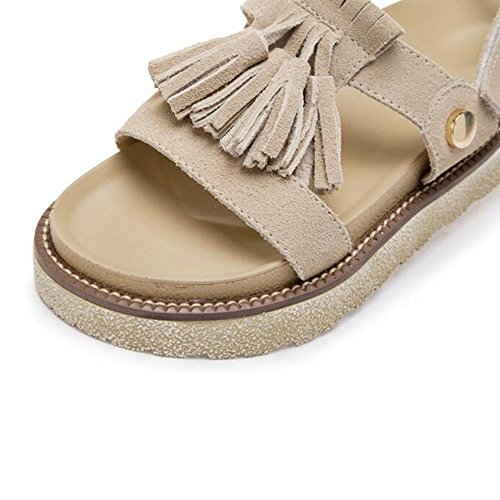 borlas manera de Khaki Sandalia de Velcro las de verano mujer la la del de 0xqEpwAIER