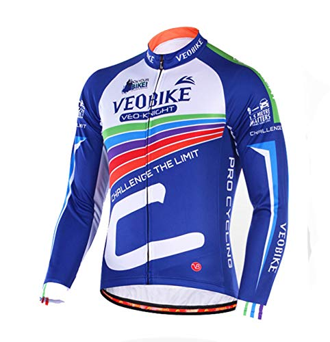 (EoCot Men's Cycling Jersey Long Sleeve Bike Shirt Breathable Printed Long Sleeve Bike Jersey Colorful Rainbow Asia M=US Small)