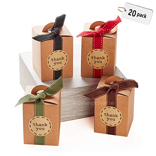 Hayley Cherie – Kraft Gift Treat Boxes with Ribbons and Stickers (Set of 20) – 4.7 x 3.5 x 3.5 inches – Brown 350gsm Card – for Christmas, Favors, Cakes, Cookies, Candy, Parties, Showers