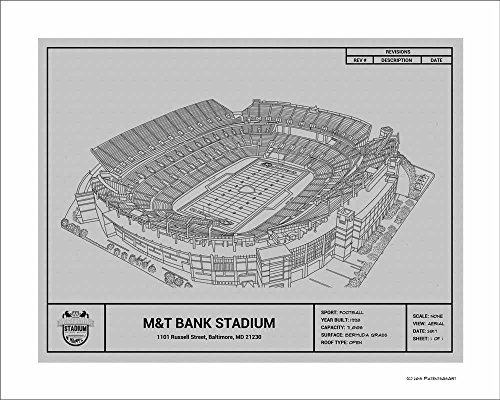 Paper Ravens Baltimore (Baltimore Ravens M&T Stadium Blueprint Art Gift)