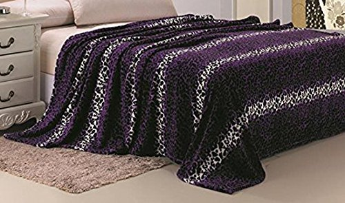 Plazatex Animal Prints Micro Plush Leopard King Blanket Purple & Black