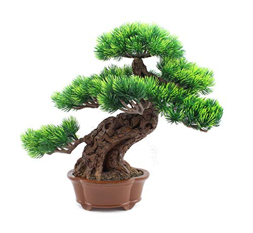 Japanese Bonsai Pine Tree Artificial Faux Potted Plants House Plants for Bathroom Home Kitchen Office Bookshelf Garden Feng Shui Decor Indoors Outdoors Aquarium Ornament (LS02548)