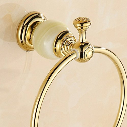 Edge To All copper round white gold luxury marble bathroom towel ring towel hanging bracket by Edge To (Image #1)