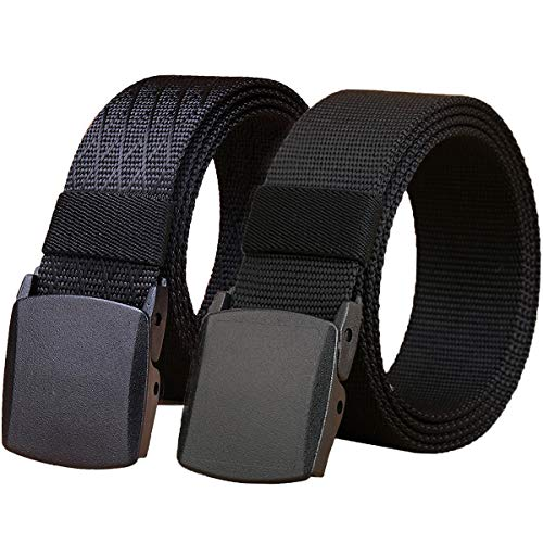 WYuZe 2 Pack Nylon Belt, Outdoor Military Web Belt Men's Tactical Webbing Belt(black-below 50inch)