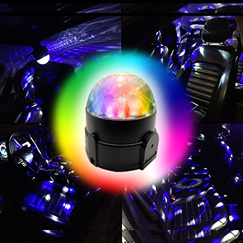 Price comparison product image Amfor Multi Color 12V / 6W LED Car Dj Atmosphere Lights Sound Actived Car Interior Disco Rotating Lights