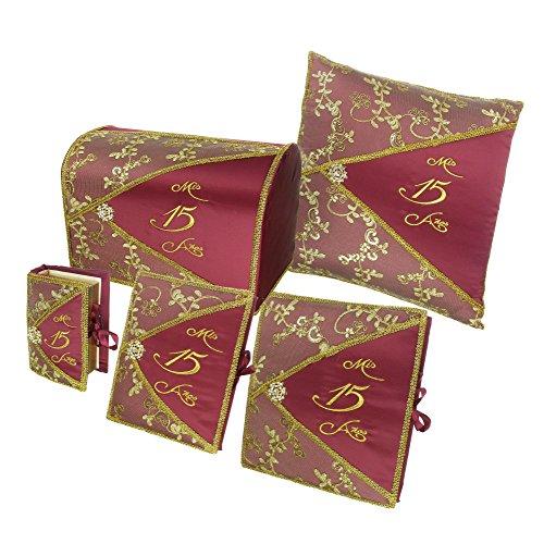 Quinceañera Accessory Set Bible Guest Book Photo Album Gift Box Kneeling Pillow - Burgundy 200 by DivaDesigns