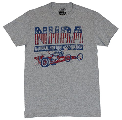 NHRA Mes T-Shirt - National Hot Rod Association Distressed Dragster Image (Medium) Light Heatehr Gray