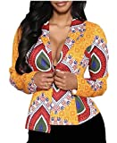 ainr Women Africa Dashiki Print Open Front Stand Collar Jackets Coats Picture Color L