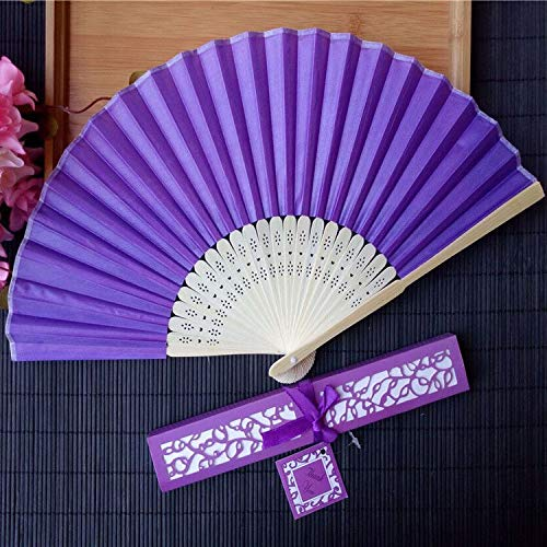 Decorative Fans - 50Pcs/Lot Personalized Luxurious Silk Fold Hand Fan in Elegant Laser-Cut Gift Box +Party Favors/Wedding Gifts+Printing - by GTIN - 1 Pcs