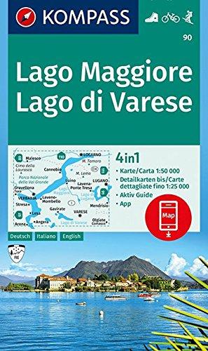 Lago Maggiore, Lago di Varese: 4in1 Wanderkarte 1:50000 mit Aktiv Guide und Detailkarten inklusive Karte zur offline Verwendung in der KOMPASS-App. ... Skitouren. (KOMPASS-Wanderkarten, Band 90)