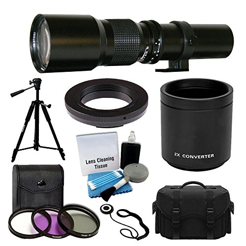 500mm -1000mm f/8.0 High Definition Multi Coated Telephoto Lens with 2X Multiplier Converter + 3 Piece UV Filter Kit + High Quality Tripod + Digital SLR Large Gadget Bag + T-Mount Adapter + Bundle by PHOTO4LESS